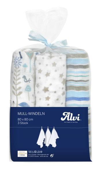 Mull Windeln 3er Blau