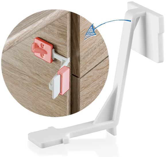 Schrank- und Schubladensicherung mit Montagehilfe